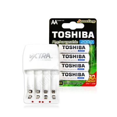 TOSHIBA東芝3號低自放電鎳氫充電電池2000mAh(4顆)+VXTRA新經濟型充電器