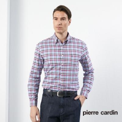 Pierre Cardin皮爾卡登 男裝  刷毛格紋長袖襯衫-水藍色(5205172-35)