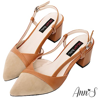 Ann'S優美線條-復古異材質拼接拉帶粗跟尖頭鞋-棕(版型偏小)