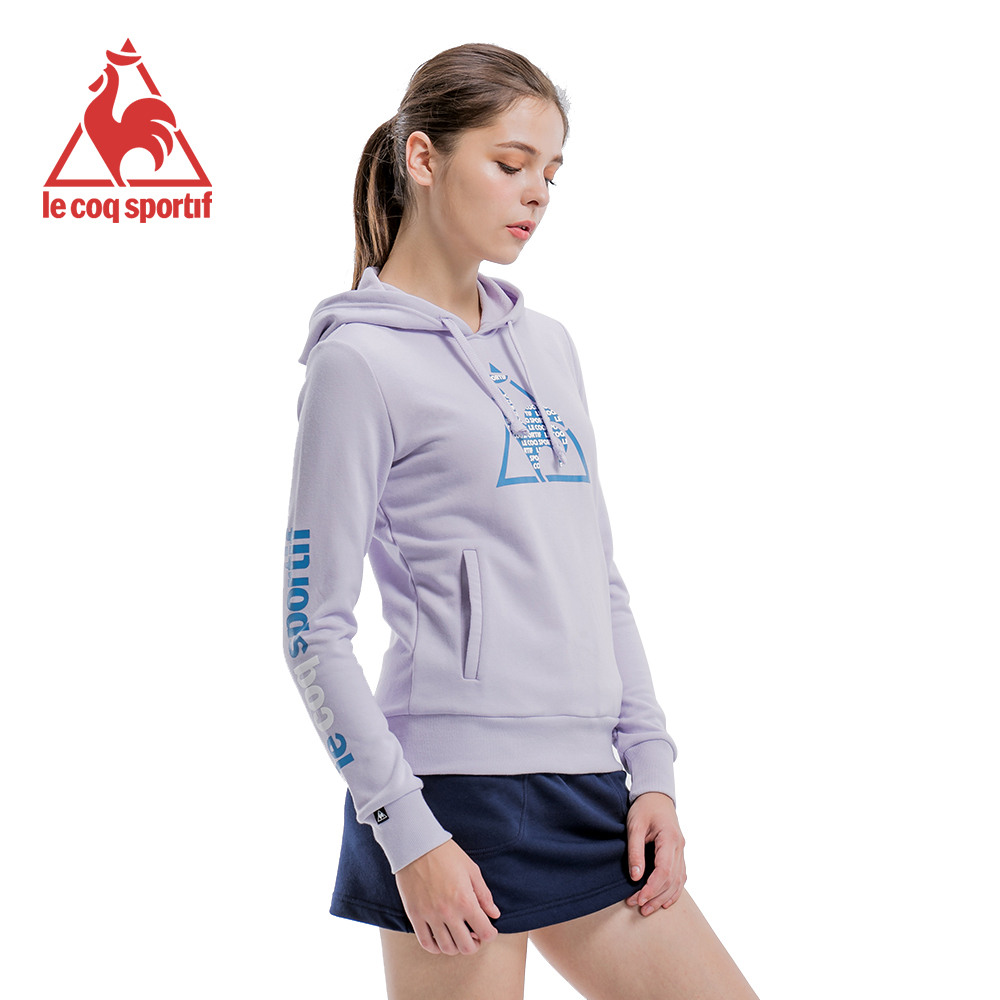 le coq sportif 法國公雞牌長袖連帽T恤 女-粉紫