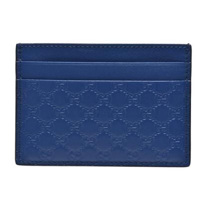 GUCCI 經典Guccissima壓紋牛皮萬用信用卡夾(藍色)