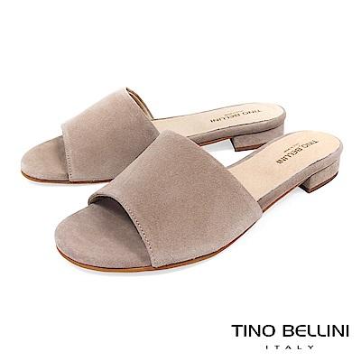 Tino Bellini 西班牙進口極簡自然風平底涼拖鞋 _ 灰駝