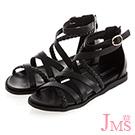 JMS-交叉編織環裸平底羅馬涼鞋-黑色