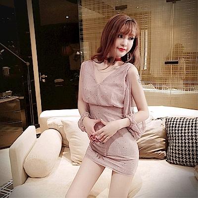 DABI 韓國風性感深V露背露肩修身包臀長袖洋裝