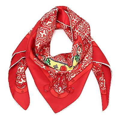 HERMES MORS ET GOURMETTES REMIX 真絲披肩方型絲巾-紅色