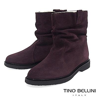 Tino Bellini義大利進口自然抓皺內鋪毛平底中筒靴_咖