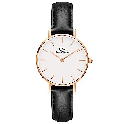 DW手錶 官方旗艦店 28mm玫瑰金框 Classic Petite 爵士黑真皮皮革