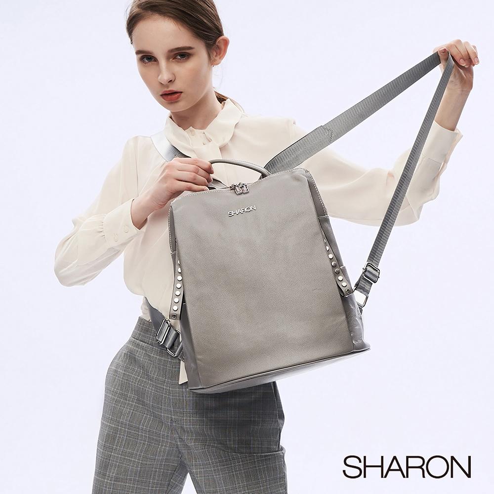 【SHARON 雪恩】頭層牛皮Joy雙鉚釘拉鍊後背包(灰色31019GR)