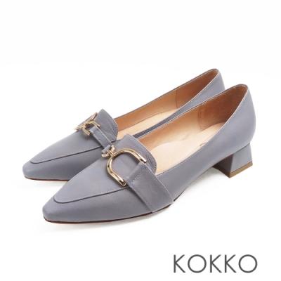 KOKKO - 千言萬語金扣真皮尖方頭鞋-天灰藍
