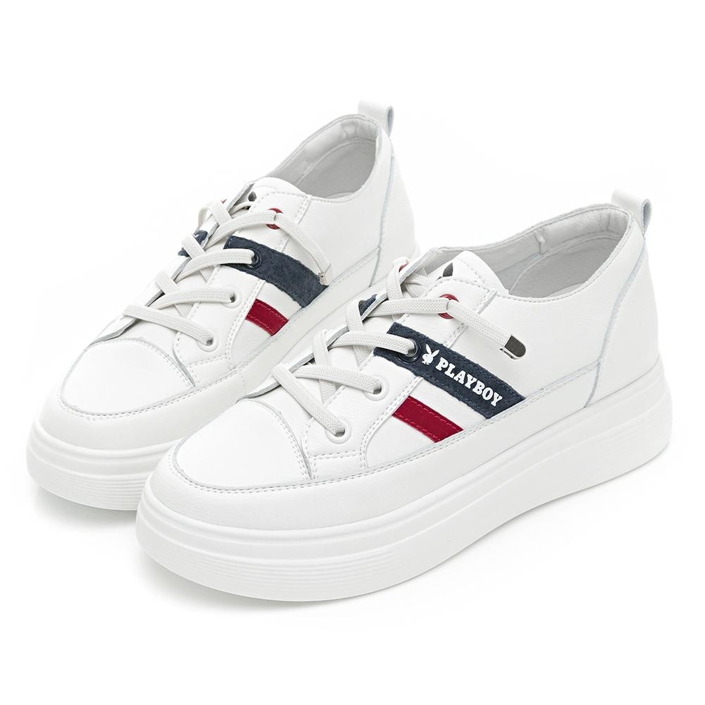 PLAYBOY  經典撞色  真皮輕量增高休閒鞋-白紅-Y680516