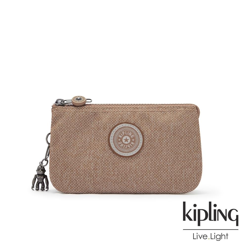 Kipling 烏龍拿鐵色三夾層配件包-CREATIVITY L