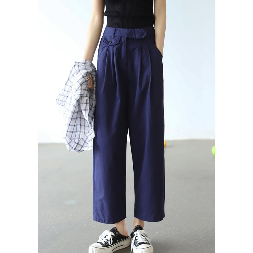 高腰垂感直筒褲寬鬆顯瘦百搭哈倫褲子-設計所在 (藏青色)