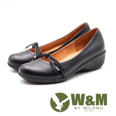 W&M 真皮 繩結坡跟楔型鞋 女鞋-黑(另有灰)
