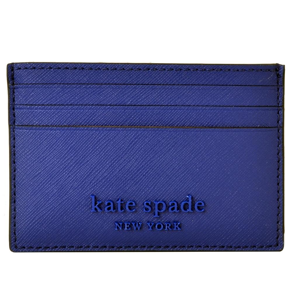 KATE SPADE 立體LOGO防刮皮革多夾層名片夾-深藍