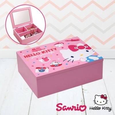 Hello Kitty 凱蒂貓 收納化妝鏡盒 珠寶盒 飾品收納 美妝收納盒