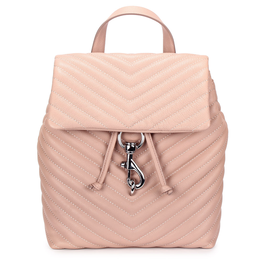 Rebecca Minkoff EDIE斜縫紋皮革抽繩束口手提/後背包-粉色 @ Y!購物