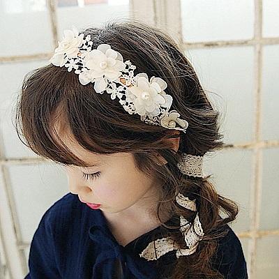 梨花HaNA 韓國手作寶貝兒童小公主蕾絲髮箍
