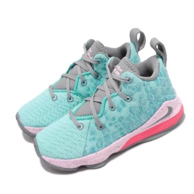 Nike 籃球鞋 LeBron XVII 運動 童鞋 明星款 LBJ 氣墊 避震 包覆 中童 綠 粉 BQ5595444