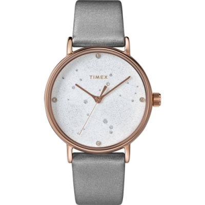 TIMEX 天美時 復刻系列 Swarovski星象手錶-灰/37mm