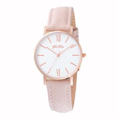 Folli Follie 簡約典雅皮革腕錶-粉(WF18R034SPW-PI)