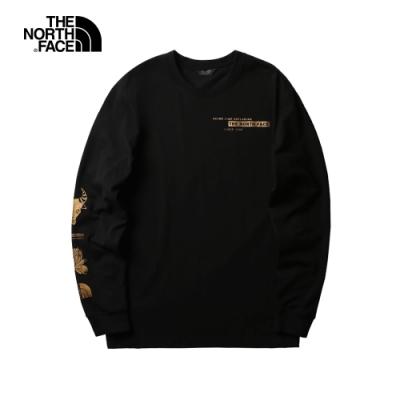 【新年款】The North Face北面男女款黑色長袖T恤|4UDLJK3