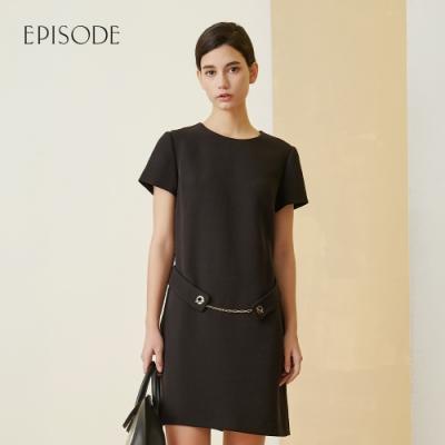 EPISODE - 素雅簡約精緻洋氣短袖洋裝(黑)