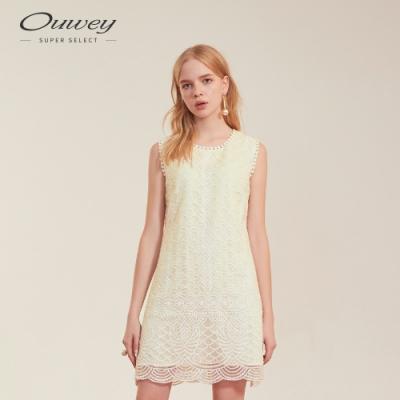 OUWEY歐薇 網布繡花紋理洋裝(米)