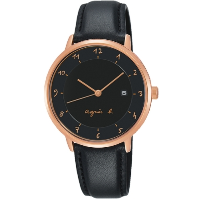 agnes b. 法式風情簡約三針女錶(B4A005J1)-黑x玫瑰金/33mm