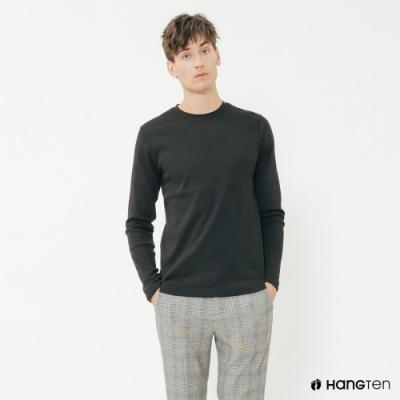 Hang Ten - 男裝 - 簡約純色小刺繡棉質圓領上衣 - 黑