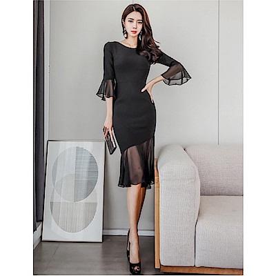 IMStyle 性感網紗修身連身洋裝(黑色)