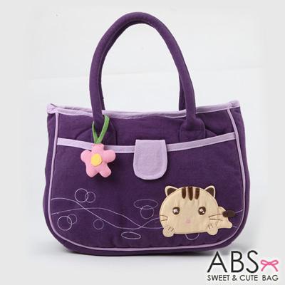 ABS貝斯貓 甜心小花趴趴貓布包小提袋(葡萄紫)88-171