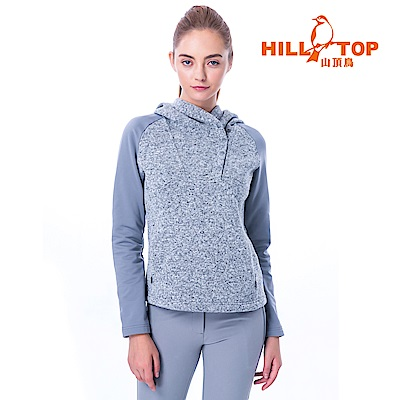 【hilltop山頂鳥】女款保暖半開襟刷毛上衣H51FI0黑灰