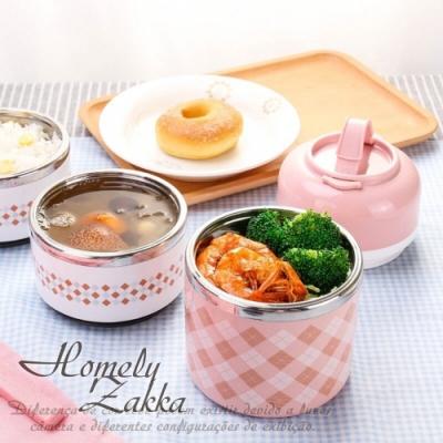 Homely Zakka 韓式創意炫彩多層頂級不銹鋼保溫飯盒/便當盒 _北歐粉