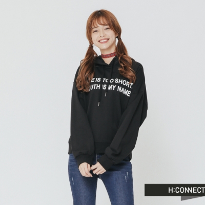 H:CONNECT 韓國品牌 女裝 -個性標語棉質帽T-黑(快)