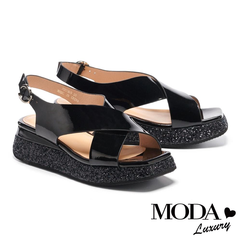 涼鞋 MODA Luxury 華麗個性交叉寬帶金蔥厚底涼鞋-黑