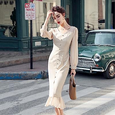 DABI 韓國風收腰開叉魚尾性感修身淑女長袖洋裝