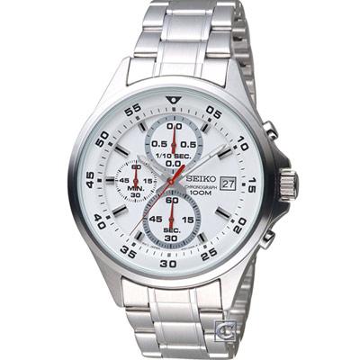 SEIKO 精工 經典時尚計時腕錶(SKS623P1)白/42mm