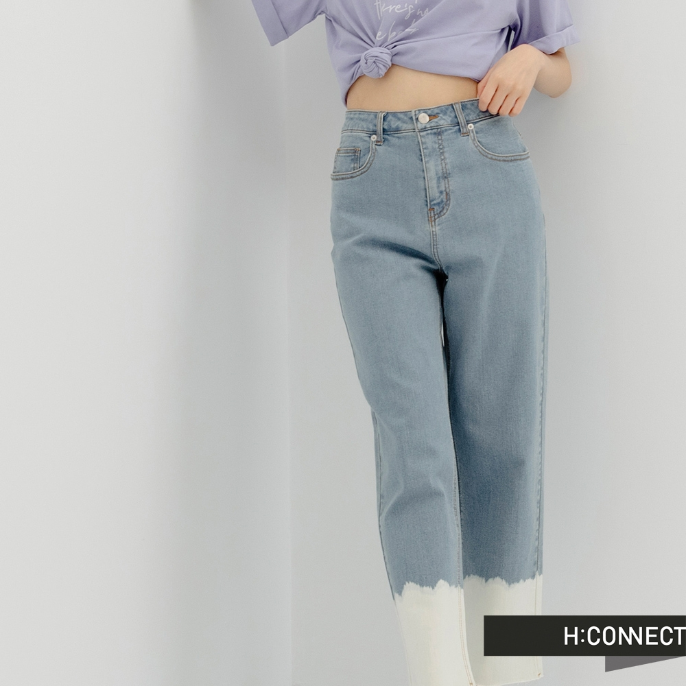 H:CONNECT 韓國品牌 女裝 -率性洗色拼接Tapered牛仔褲
