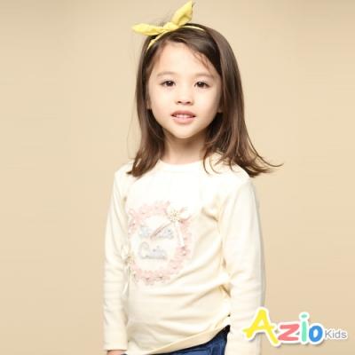 Azio Kids 女童 上衣 蝴蝶結針織小花英文字母長袖上衣T恤(杏)