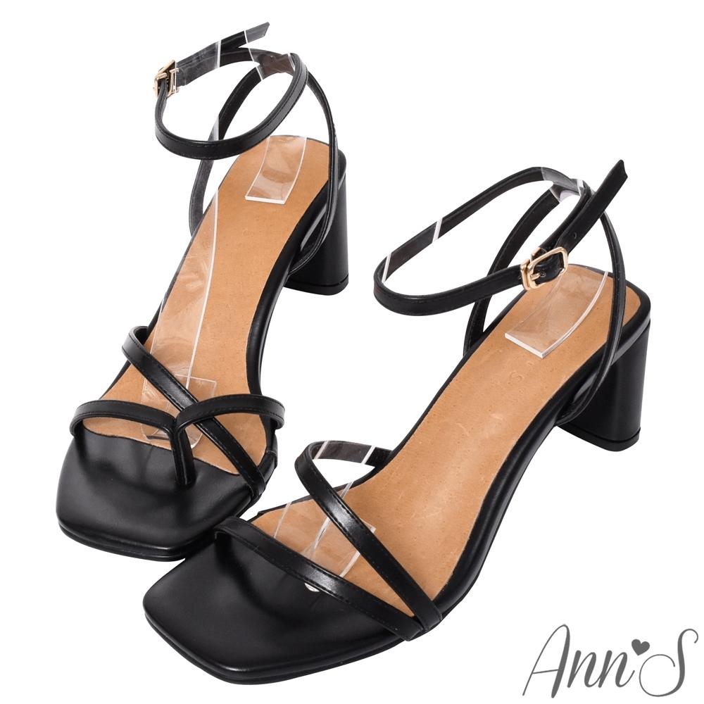 Ann'S一雙不對稱設計的方頭粗跟涼鞋-黑(版型偏小)