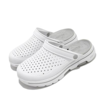 Skechers 休閒鞋 Go Walk 5 布希鞋 水鞋 男鞋 涼爽 穩定 緩震 透氣瑜珈鞋墊 兩種穿法 白 灰 243002WGY