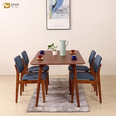 D&T 德泰傢俱 Nova北歐時尚北美松木椅(胡桃色+深藍色貓抓皮)寬45X深51X高79公分