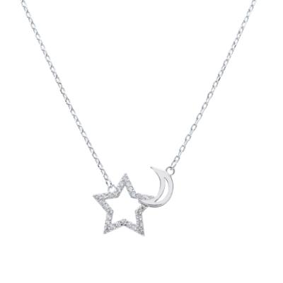 Prisme 美國時尚飾品 璀璨鑲鋯星月純銀項鍊