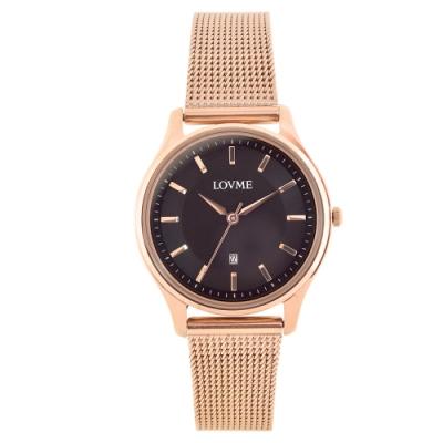 LOVME 文青時尚米蘭手錶-IP玫x黑/33mm
