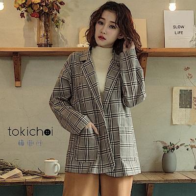 東京著衣韓國姊姊經典格紋翻領西裝外套共三色