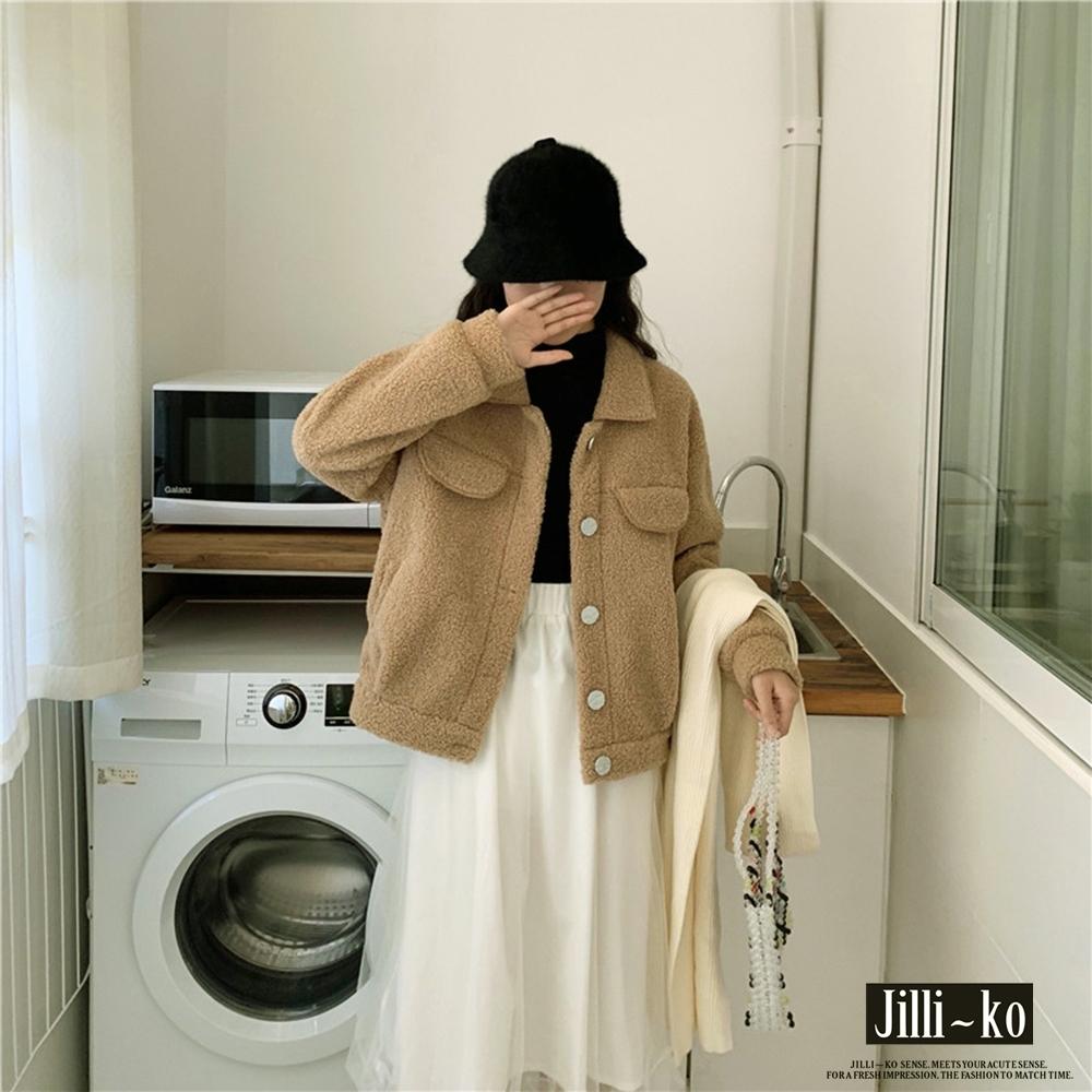 JILLI-KO 短款羊羔毛毛絨外套- 卡其