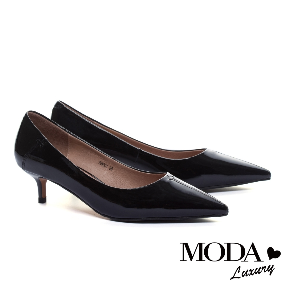 高跟鞋 MODA Luxury 簡約時尚軟牛漆皮尖頭高跟鞋-黑