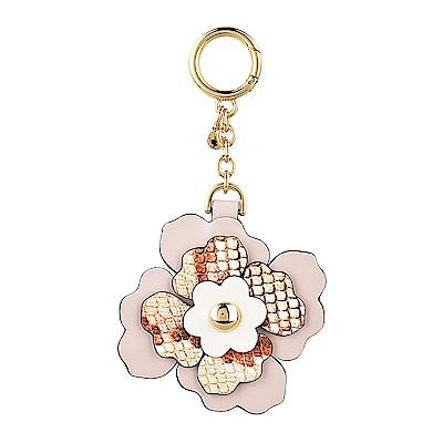 MK MICHAEL KORS CHARMS燙金LOGO皮革立體花朵設計吊飾鑰匙圈(淡粉)
