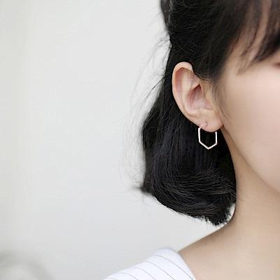 梨花HaNA  韓國925銀極簡系列六邊型開口耳環