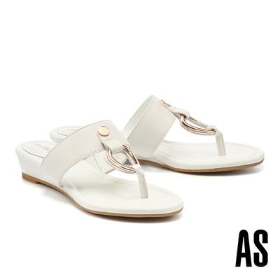 拖鞋 AS 俐落個性金屬帶釦全羊皮T字楔型低跟拖鞋-白